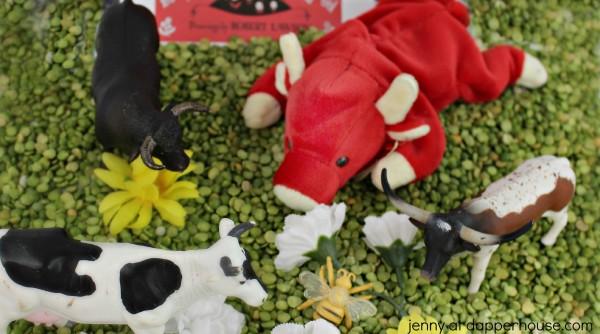 Ferdinand the Bull Sensory Bin Learning and Play Activity for Kids - jenny at dapperhouse