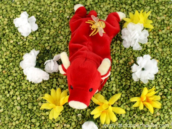 Ferdinand the Bull Sensory Bin for Kids - Learning and Play - jenny at dapperhouse