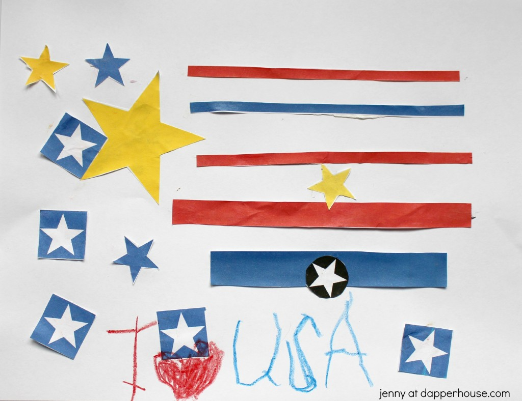 Free Printable Patriotic USA themed kids craft activity - jenny at dapperhouse