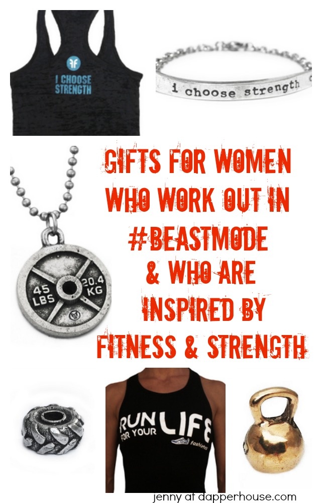 Gifts for women who are inspired by Fitness and Strength and who work out in #beastmode - jenny at dapperhouse #jewelry #fitness #gym #gifts