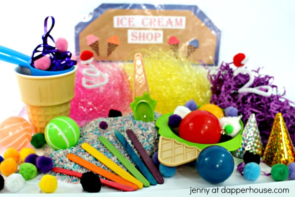 How to Make an Ice Cream Themed Sensory Bin from Jenny at dapperhouse - #Montessori #autism #gifted #sensory