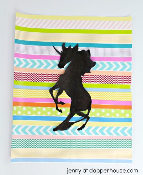How to make a Washi Tape DIY Unicorn Silhouette Art Activity - jenny at dapperhouse