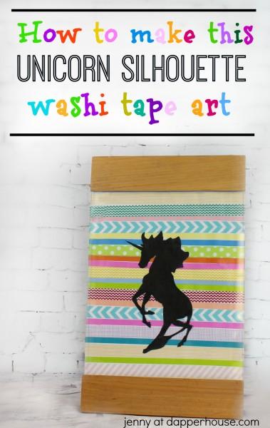 How to make this Unicorn Silhouette washi tape art - jenny at dapperhouse - #DIY