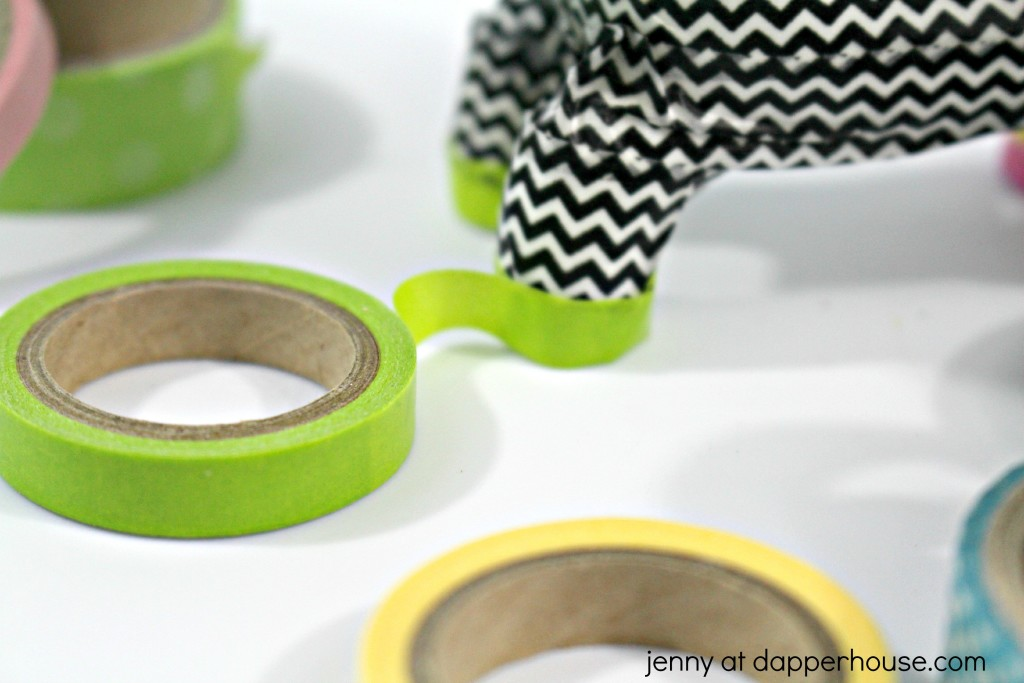 In process apply washi tape DIY easy kids craft - jenny at dapperhouse #washitape #diy