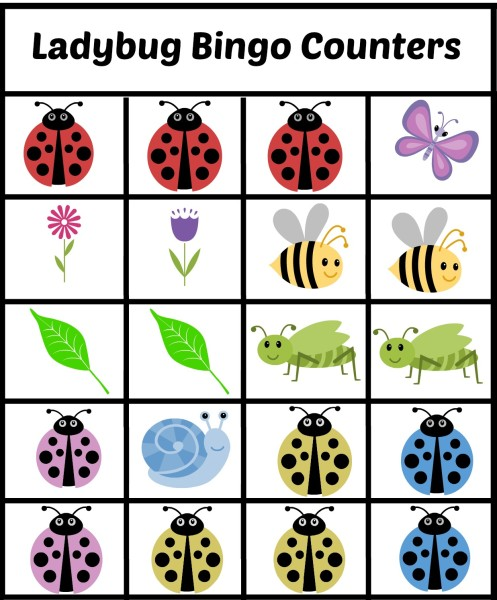 Ladybug BINGO Counters Free Printables Kids Games - jenny at dapperhouse