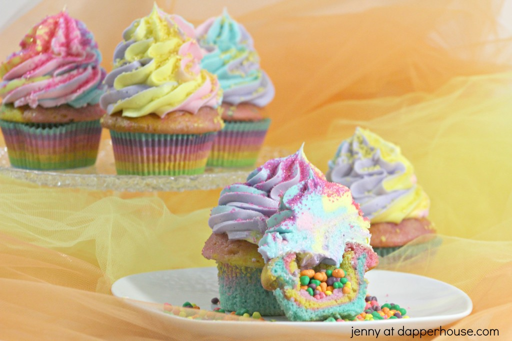 Rainbow Unicorn Cupcakes made with magic - jenny at dapperhouse - #unicorn #cupcake #rrainbow #pastel #nerds #candy #dessert #party