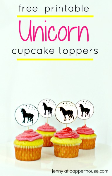 Unicorn Cupcake Topper and Party Printables - jenny at dapperhouse - FREE Printables