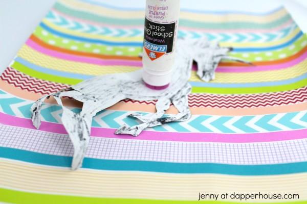 Washi Tape DIY Unicorn Silhouette Art Activity - glue the unicorn - jenny at dapperhouse