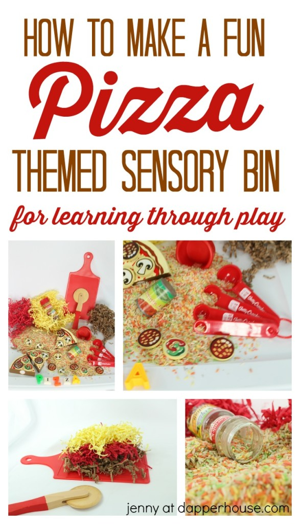 How to make a fun pizza themed sensory bin for leaning through play - jenny at dapperhouse - homeschool - classroom -