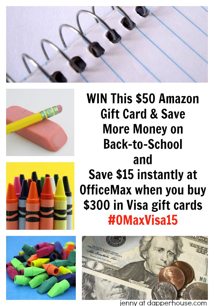 jenny at dapperhouse Save $15 instantly at OfficeMax when you buy $300 in Visa gift cards #OMaxVisa15 plus a $50 Amazon Gift Card Giveaway #ad