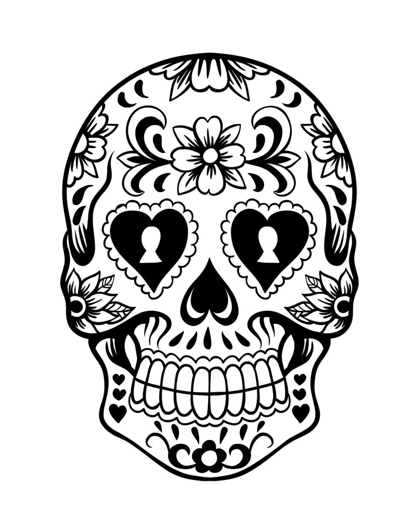 Coloring pictures skulls -  Day Of The Day Sugar Skull Coloring Page 3