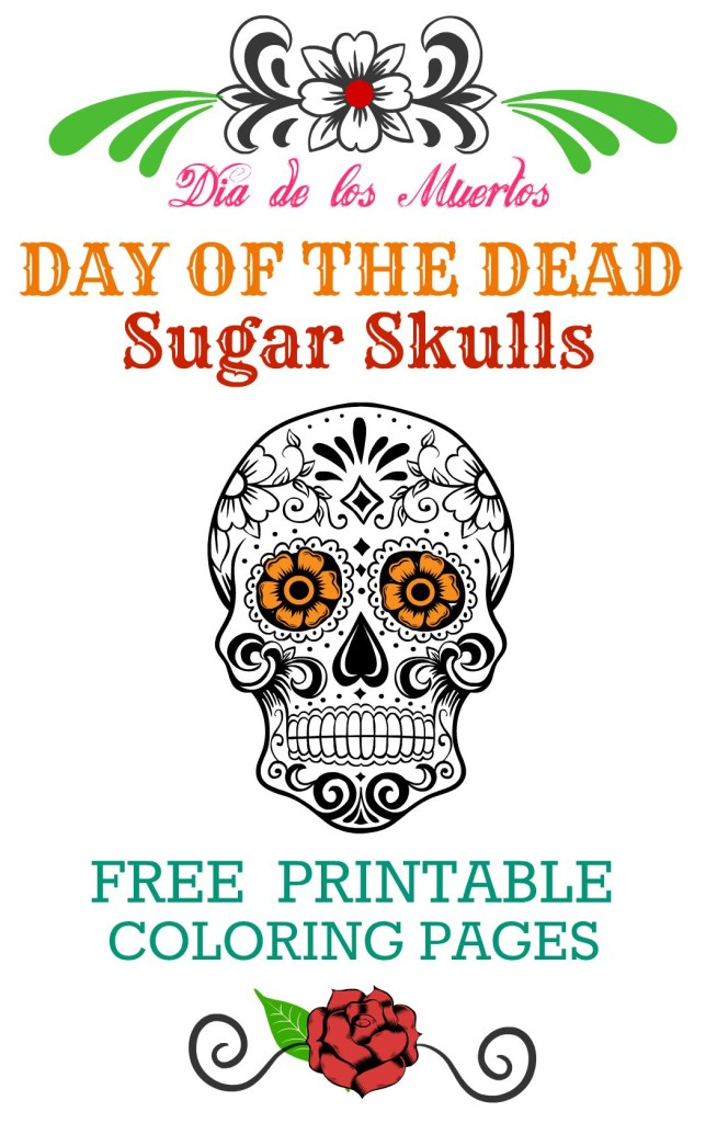 Day of the Dead FREE Printable Coloring Pages Dia de los Muertos  Free Coloring Pages