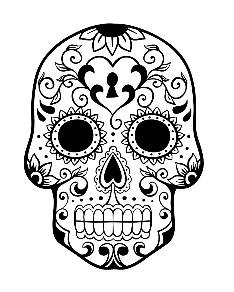 Day of the Dead Sugar Skull Coloring Page 4