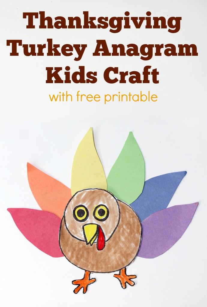 Thanksgiving Turkey Anagram Kids Craft pinterest image with FREE Printables