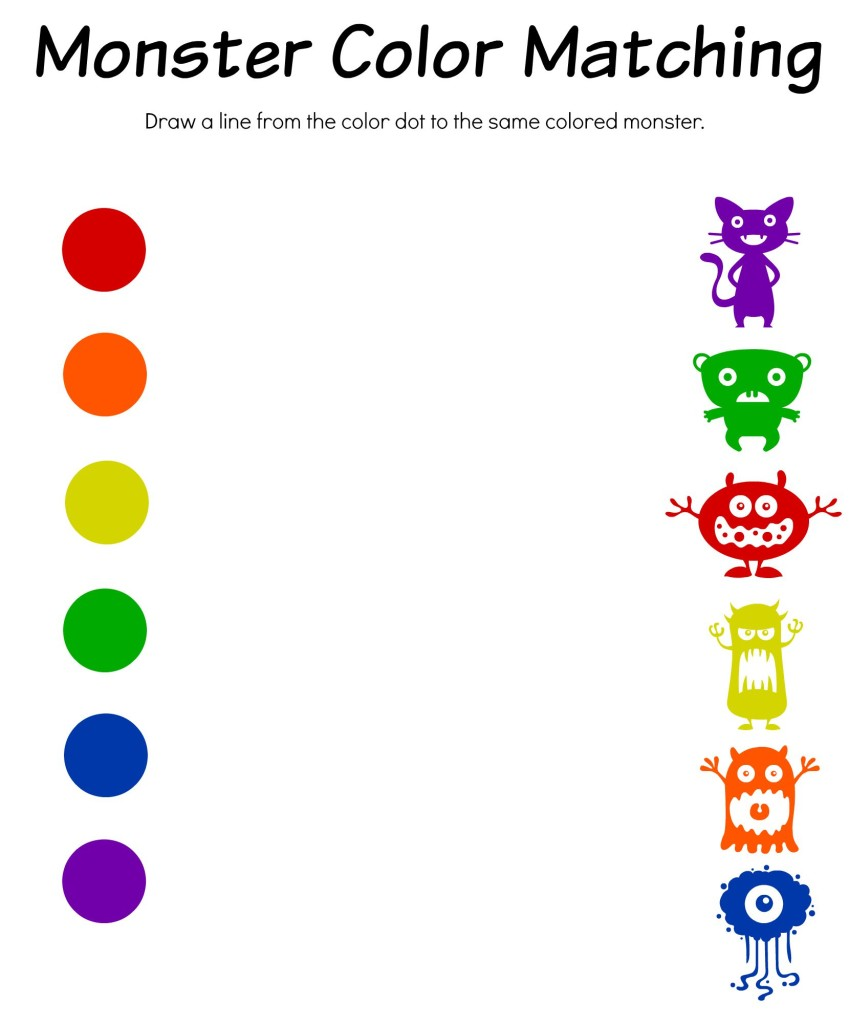 Monster Math, Color Match & Bingo Free Printable Worksheets
