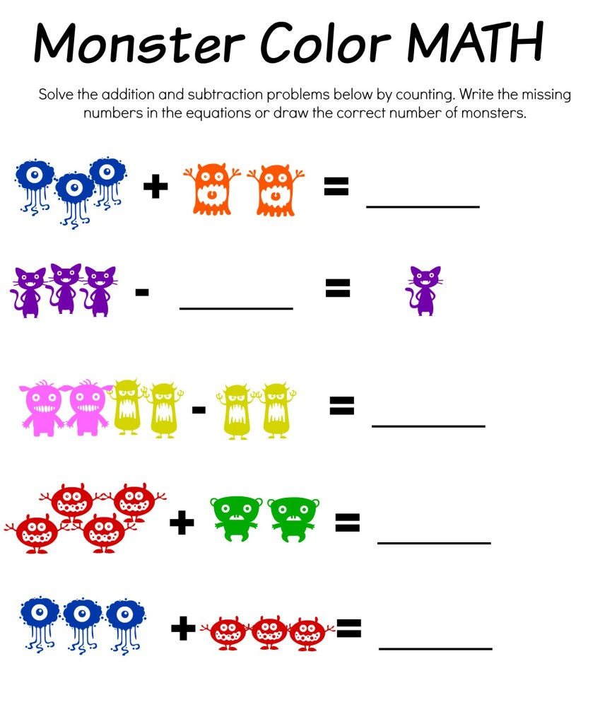 Monster Math Color Match and Bingo Free Printable Worksheets – Monster Math Worksheets