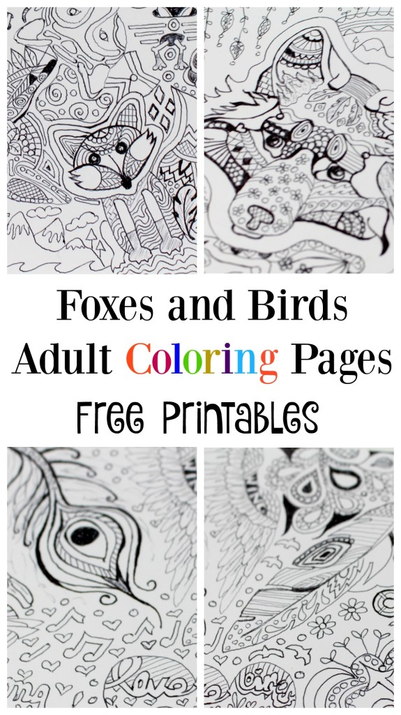 FOx and Bird free printable free adult coloring pages - jenny at dapperhouse