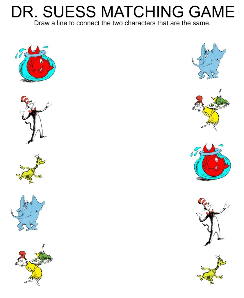 Free Printable Matching Worksheets carolinabeachsurfreport – Dr Seuss Worksheets Printables