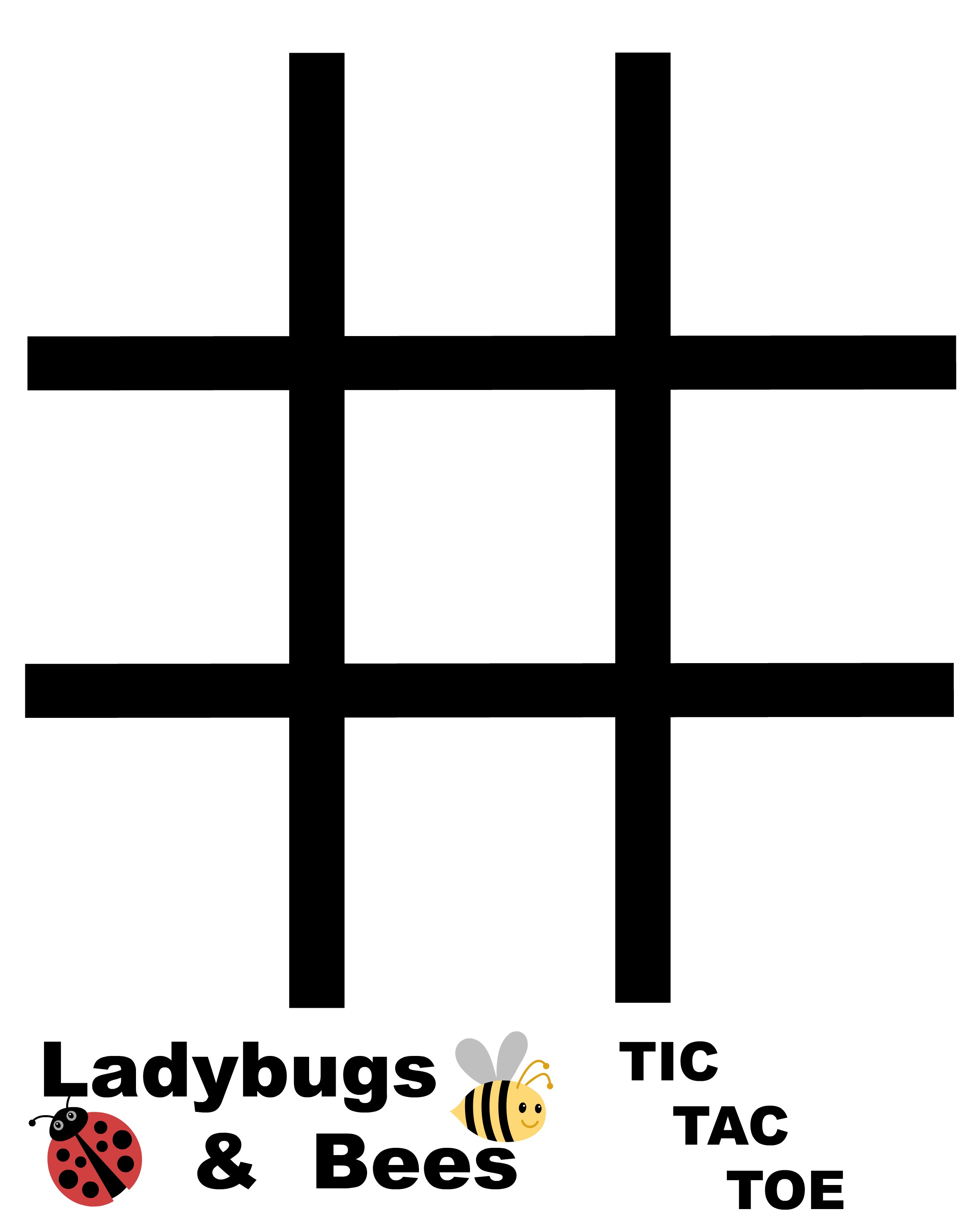 picture relating to Free Printable Tic Tac Toe Board identify Ladybug and Bees Tic Tac Toe Recreation Free of charge Printables