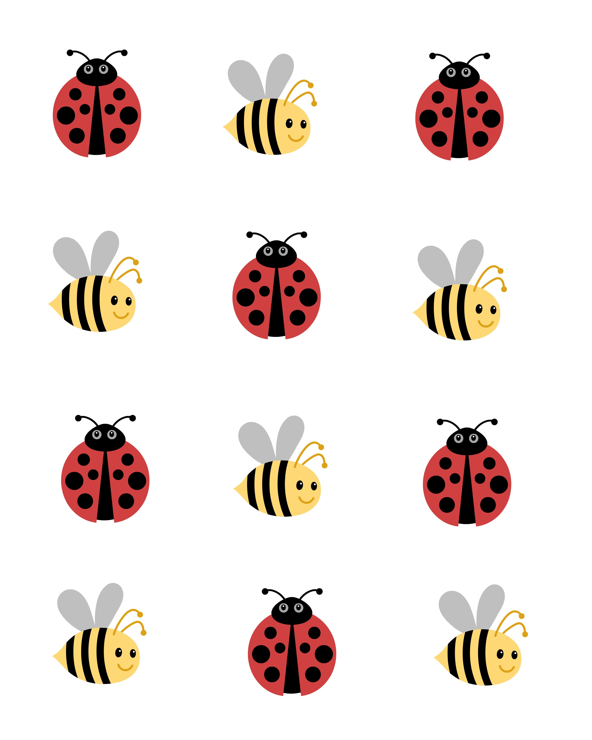 picture about Printable Ladybug identify Ladybug and Bees Tic Tac Toe Match No cost Printables
