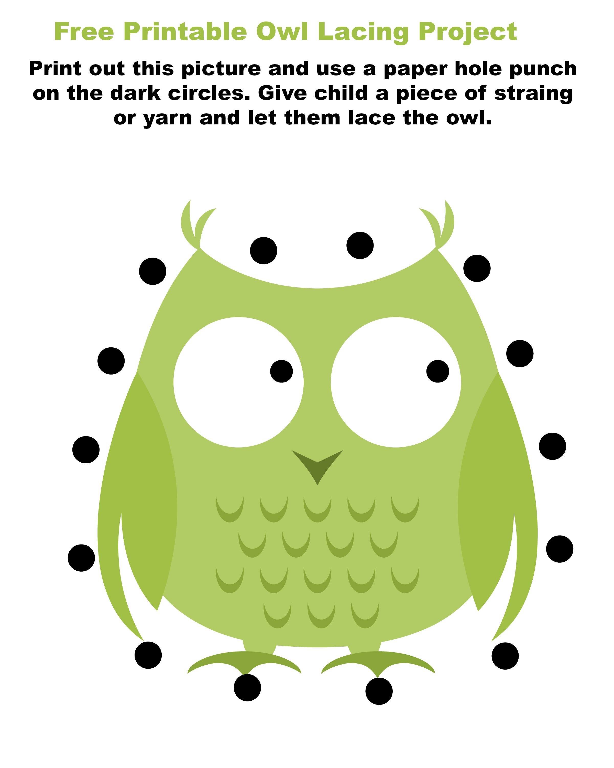Free printable owl lacing card - jenny at dapperhouse