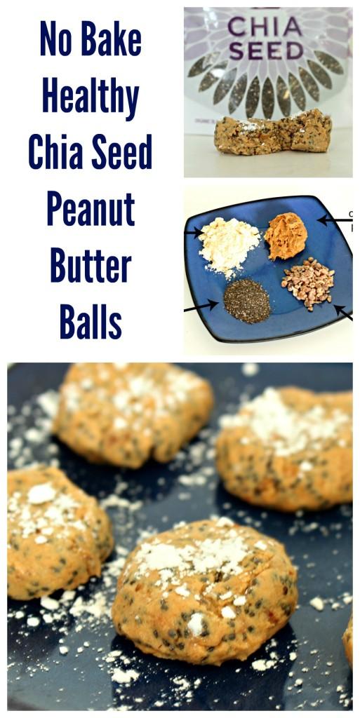 No Bake Healthy CHia Seed Peanut Butter Balls