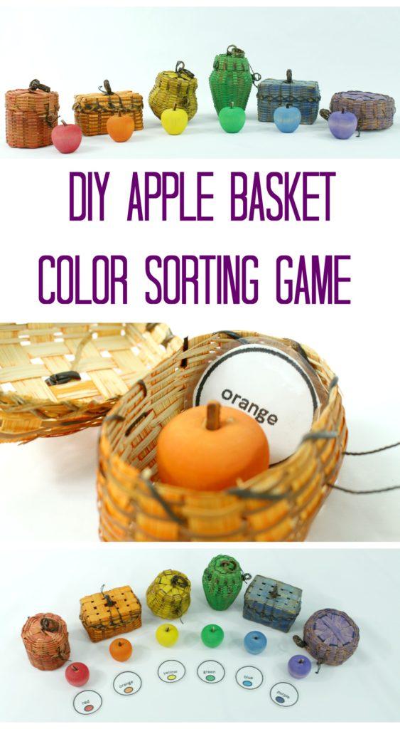 DIY Apple Basket Color Sorting Game for Kids - Make it yourself - jenny at dapperhouse