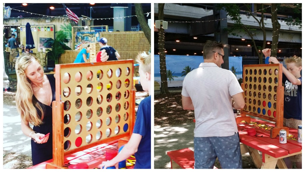 So much fun at the  Chicago riverwalk Tiki Bar Island Party Hut - jenny at dapperhouse - giant connect four