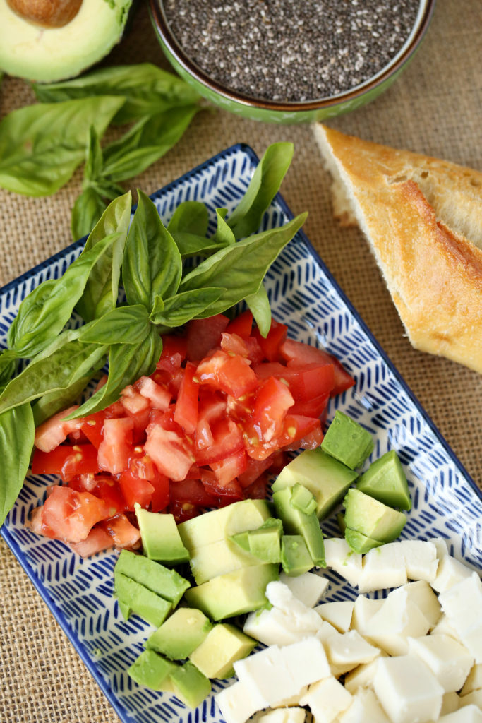 ingredients for healthy and fresh bruschetta recipe - jenny at dapperhouse blog