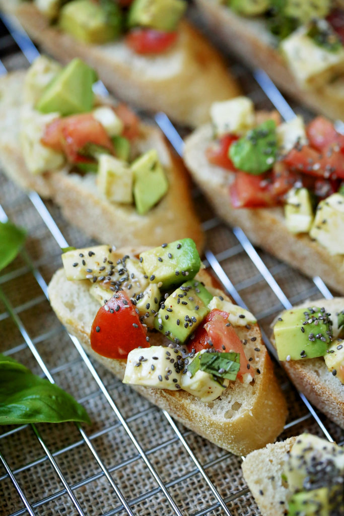healthy bruschetta with avocado and chia seeds - jenny at dapperhouse blog