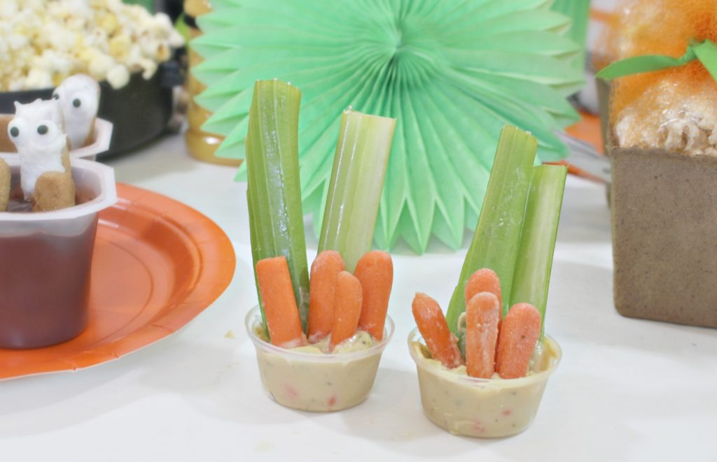 Easy veggie hummus and veggie cups - jenny at dapperhouse - fun for halloween