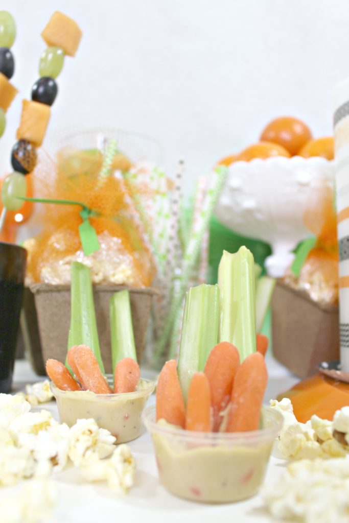 Halloween party veggie cups with hummmus - jenny at dapperhouse blog