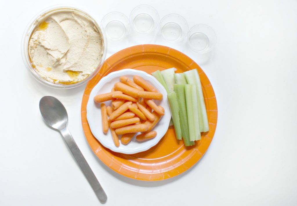 Ingredients to make fun hummus and veggie snack cups - jenny at dapperhouse blog