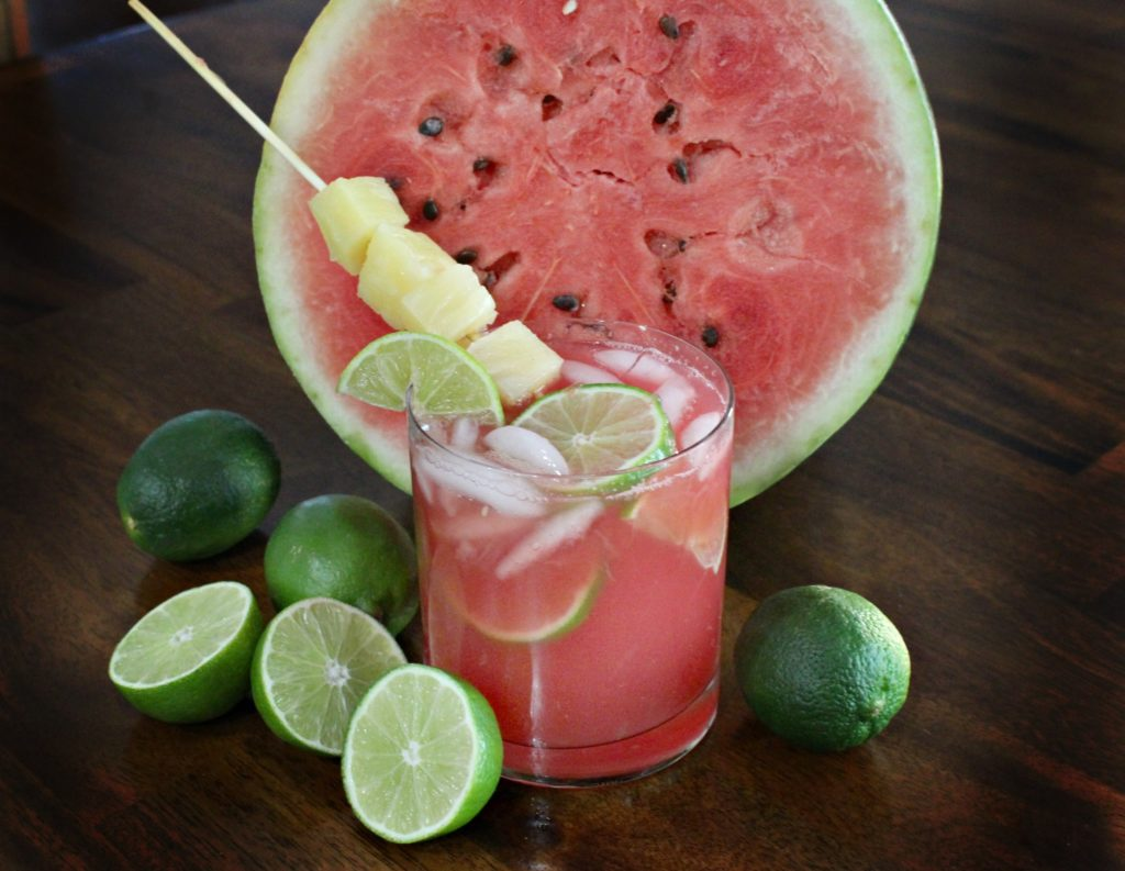 Recipe for this Watermelon Tiki Punch Cocktail - jenny at dapperhouse blog
