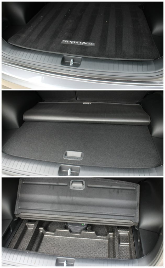 Secret spot in the back that has a full organizer for tools, first aid kit and more! - KIA  Sportage - jenny at dapperhouse