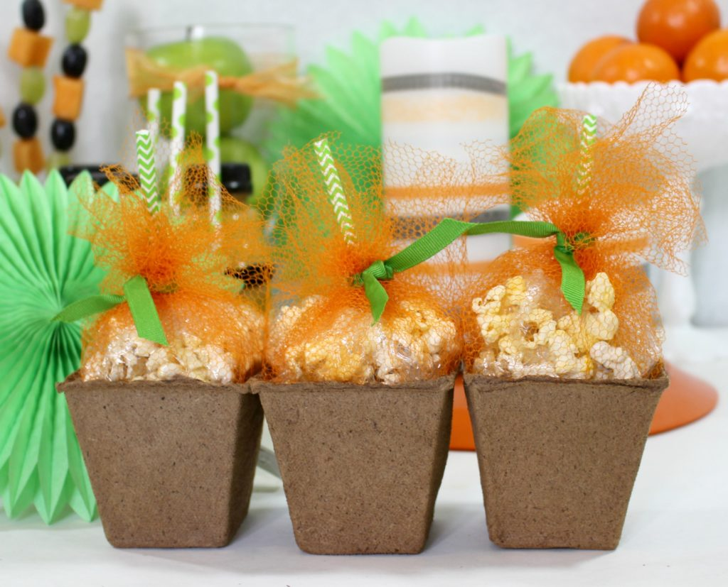 jenny at dapperhouse blog - pumpkin popcorn treat boxes for Halloween Parties DIY