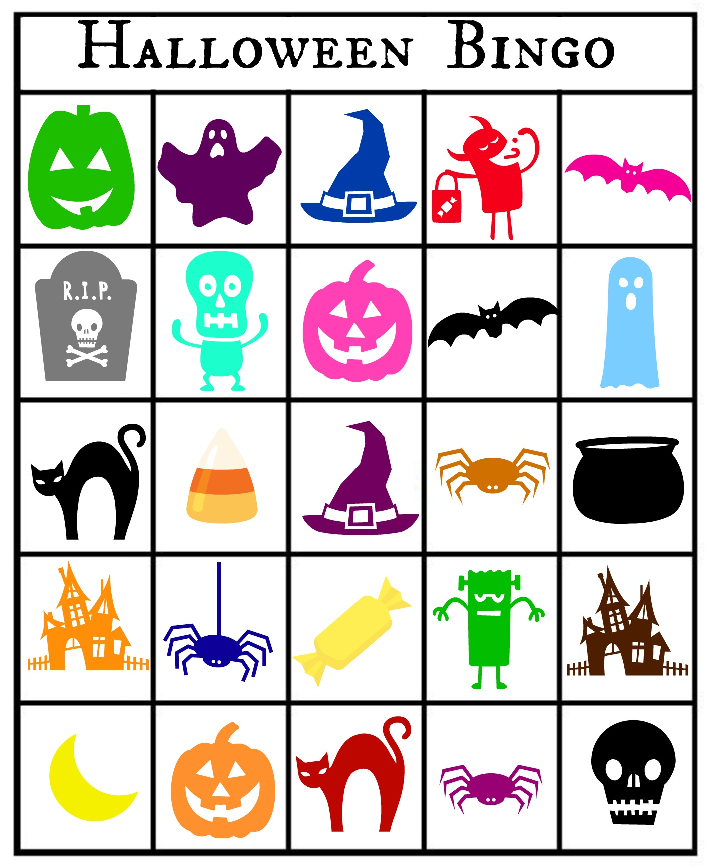 Free Printable Halloween Bingo Cards With Pictures.Free Printable Halloween Themed Bingo Cards