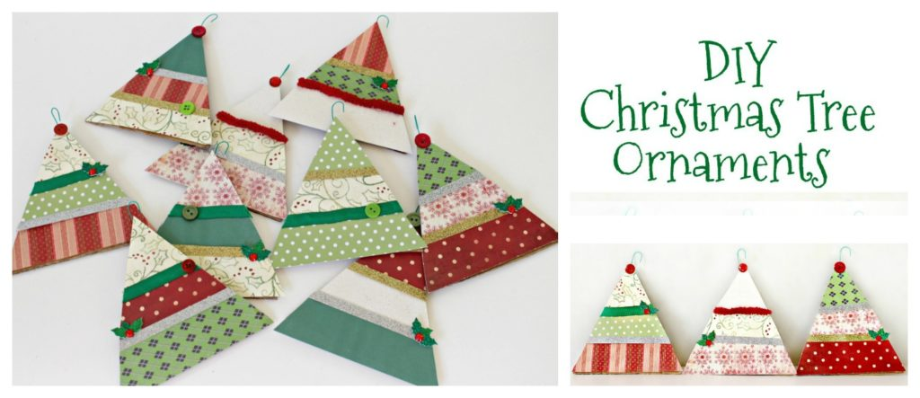 Here is how to make your own DIY Paper Christmas Tree Ornaments & Garland. - DIY Paper Christmas Tree Ornaments & Garland