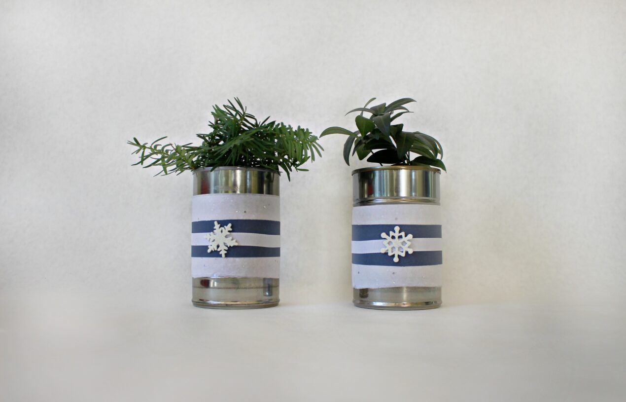 DIY Winter Themed Soup Can Planters