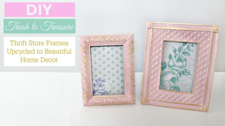 DIY Upcycled Thrift Store Frames To Beautiful Pink And Gold Home Decor