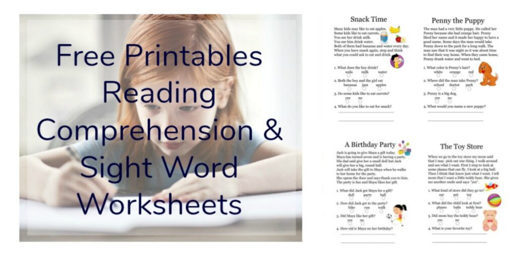 Free Printables Reading Comprehension Sheets With 1st Grade Sight Words •