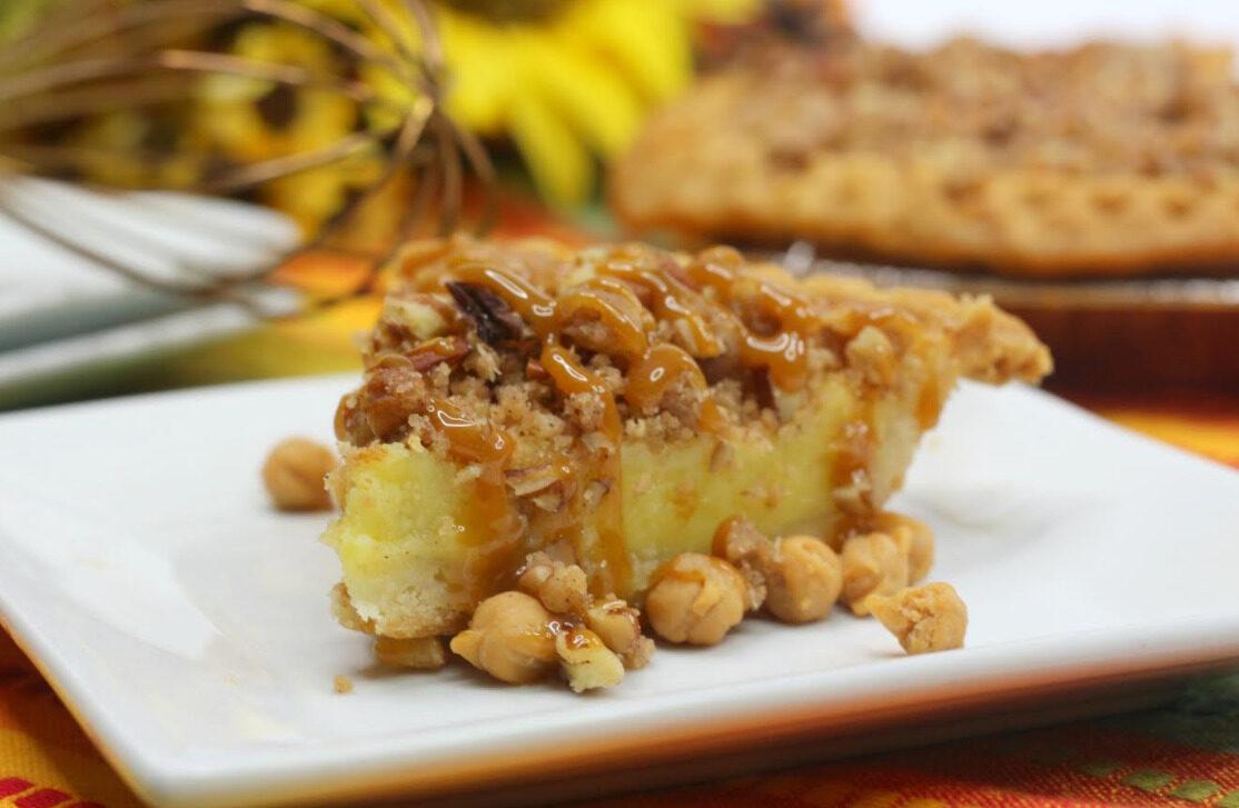 Buttermilk Pie with Salted Caramel Pecan Streusel