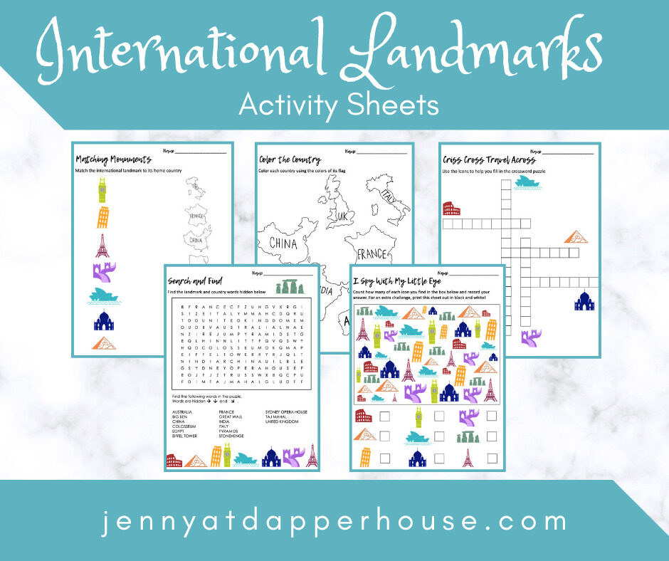 Free Printable International Landmarks Activity Worksheets