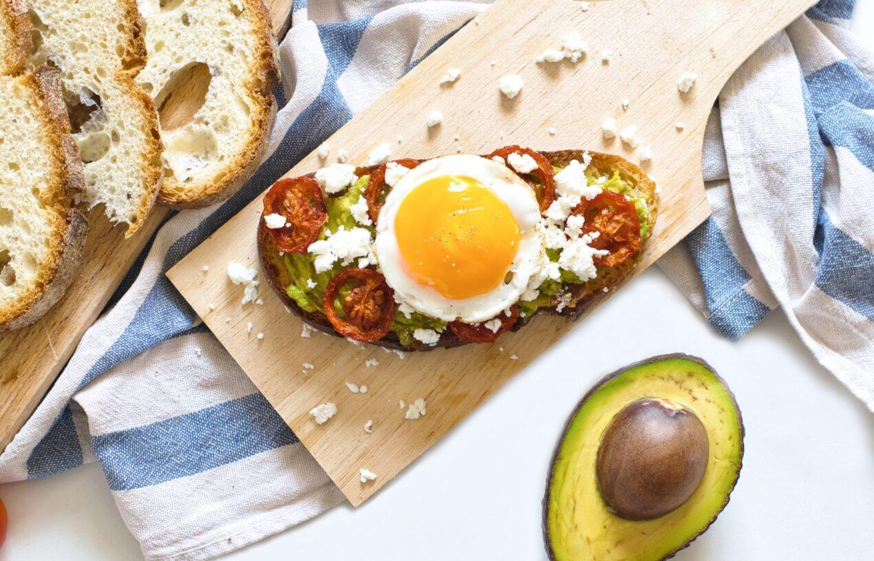 Brunch Recipe: Avocado and Feta Bruschetta Toast Topped with Egg