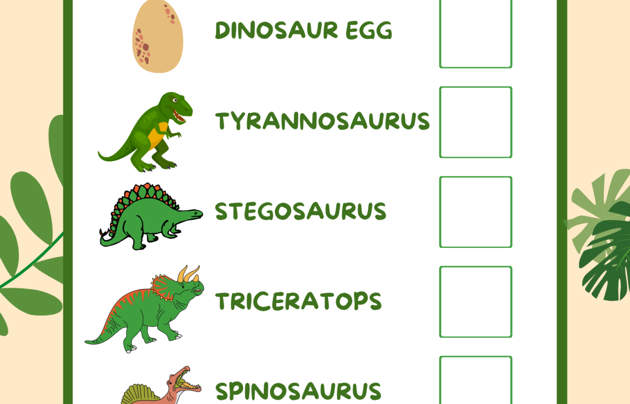 """Free Printable """"I SPY DINOSAURS"""" Pages with Counting Data Collection Sheet"""