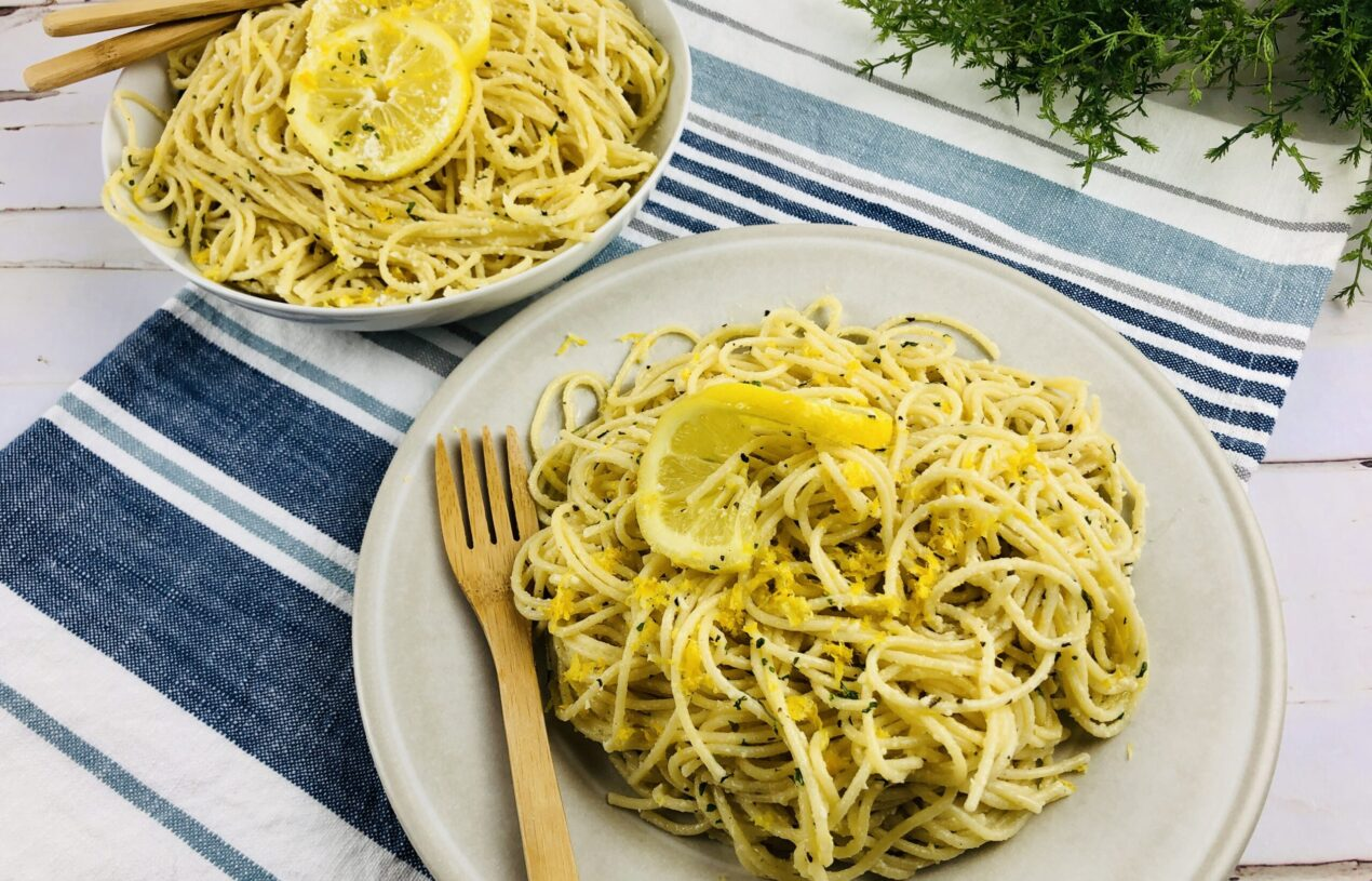 Shhh. This Lemon Spaghetti Recipe is SO Easy but has Gourmet Flavors and Beautiful Presentation