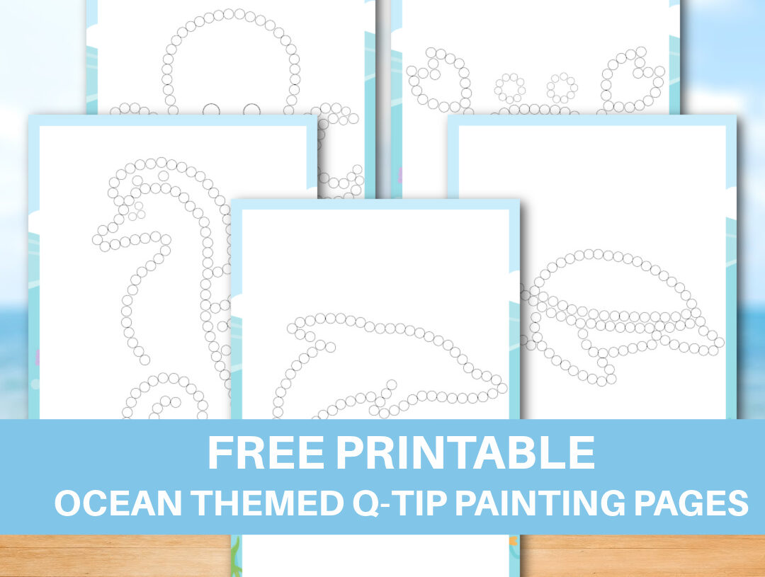 Free Printable Ocean Themed Q-tip Painting Pages