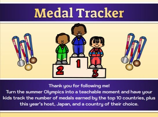 Free Printable Olympics Medal Tracker Pages for Kids