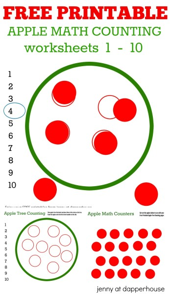Free Printable apple math counting worksheets numbers 1 - 10 - from jenny at dapperhouse